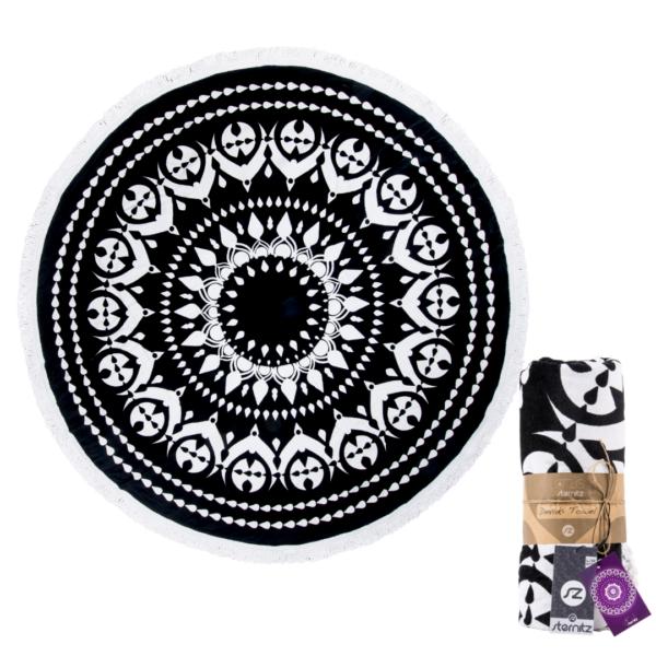 Preciosas toallas de playa grandes y amplias redondas blanco y negro Sternitz rebajas online iblevel buena calidad y presentación