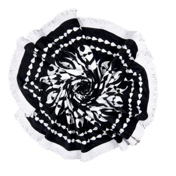 Preciosa toalla de color blanco y negro forma redonda extra grande para parejas o familias playa piscina parque
